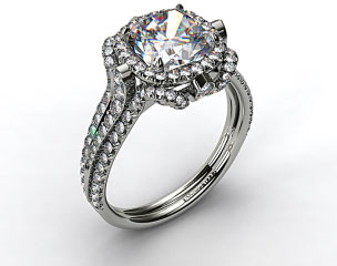 18K While Gold Split Shank Pave Halo with Pave Diamond Details